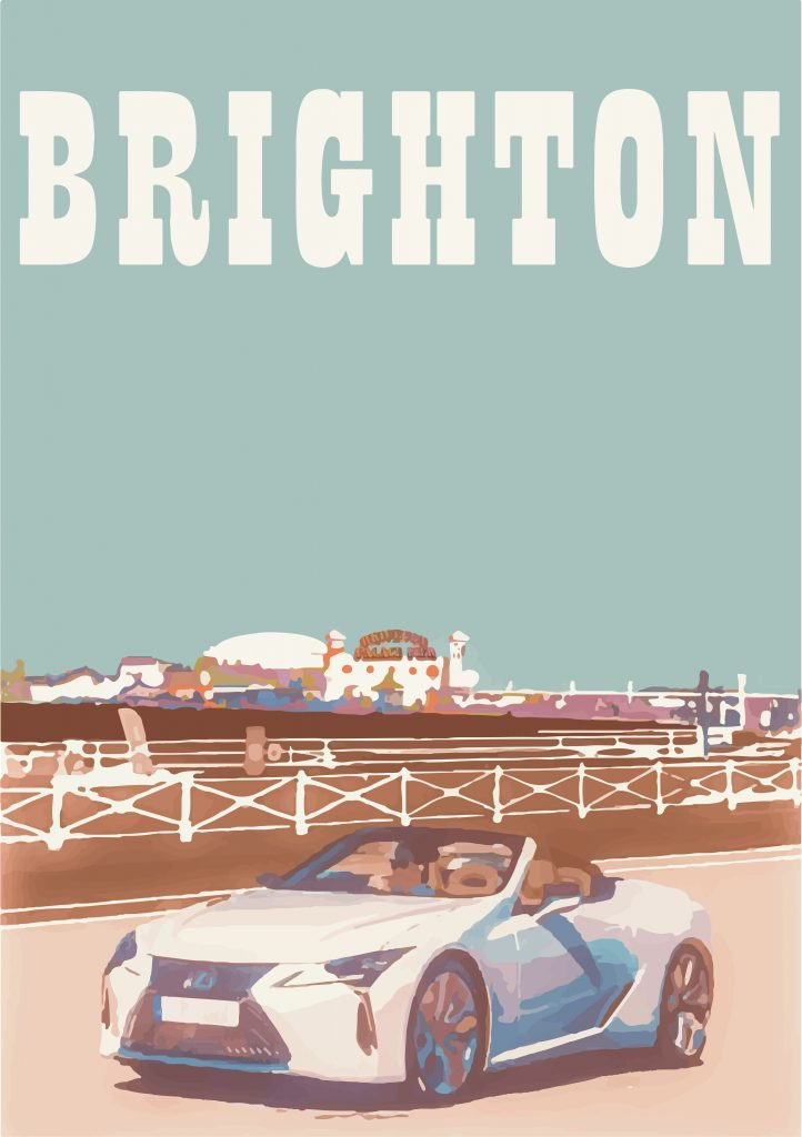 Brighton Pier, featuring the Lexus LC Convertible, by Queenie Moorhouse