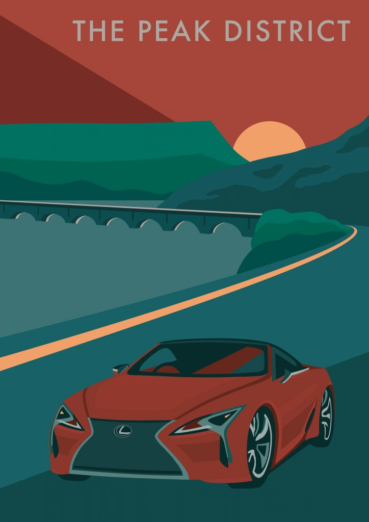 Ladybower Viaduct on Snake Pass, the Peak District, featuring the Lexus LC Convertible, by Rebecca Pymar