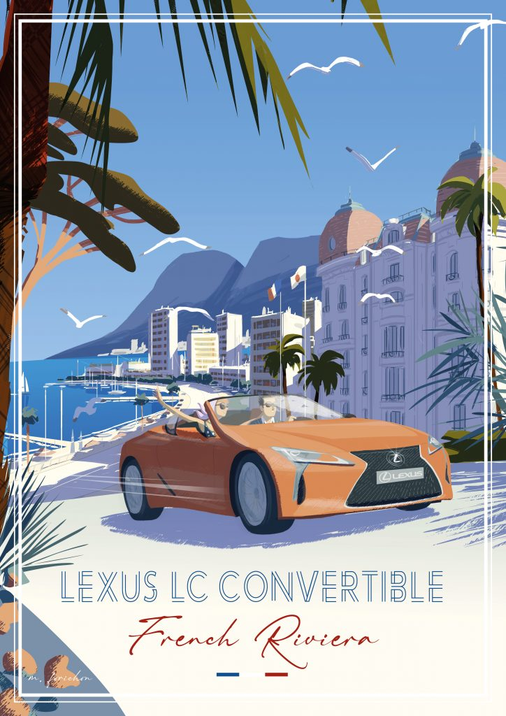 Lexus LC Convertible travel poster - France
