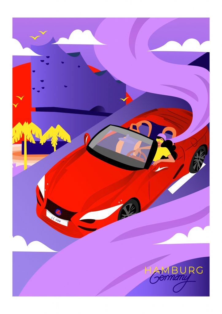 Lexus LC Convertible travel poster - Germany