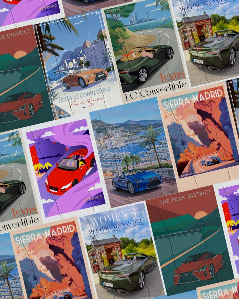 Lexus LC Convertible European Travel Posters