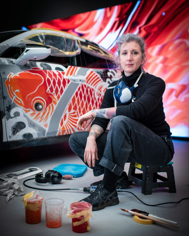 Claudia de Sabe will tattoo a Lexus UX bonnet at the Lexus Takumi Townhouse during the Japan Week Festival in London