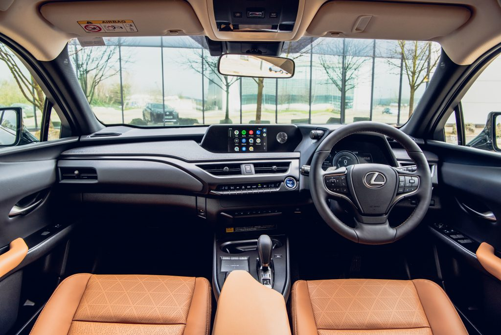 Lexus UX 300e Interior - the sound of the sun visors being closed features on the Lexus Mindfulness soundtracks
